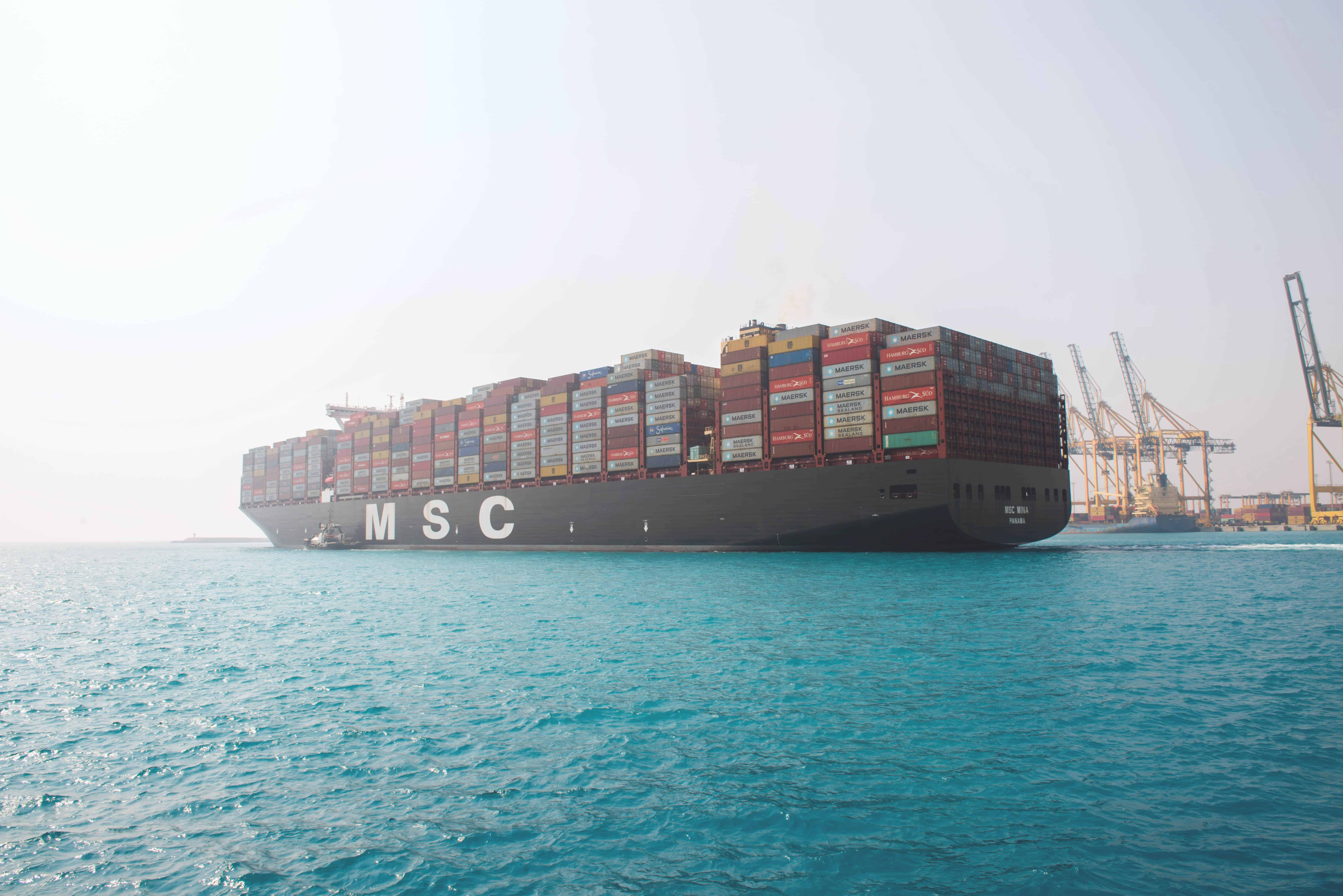 MSC MINA, one of the World's Largest Container Ships, Docks at King Abdullah Port  Docking of MSC MINA is a testament to the Kingdom's increasing competitiveness and the importance of its global logistics standing